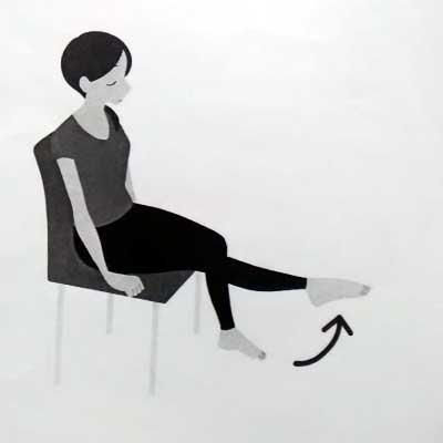 膝挙上、足首背屈運動マッサージ
